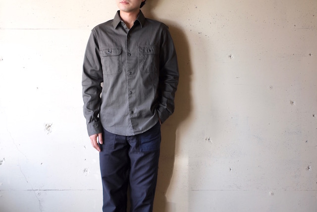 WORKERS Big Work Shirt Indigo Check-2