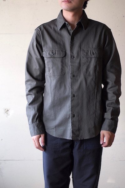 WORKERS Big Work Shirt Indigo Check-3