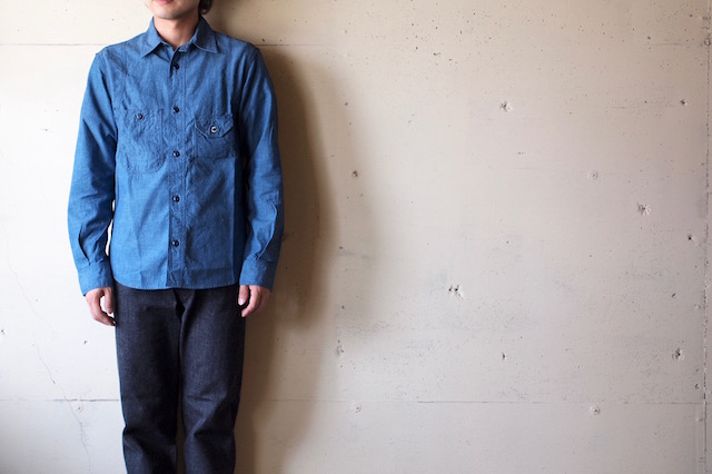 WORKERS Cigaret Pocket Work Shirt Beta Chambray-2