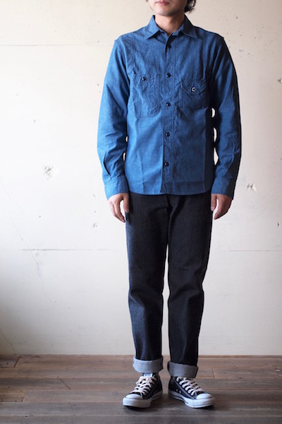 WORKERS Cigaret Pocket Work Shirt Beta Chambray-3