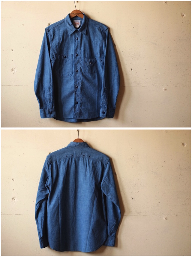 WORKERS Cigaret Pocket Work Shirt Beta Chambray-4