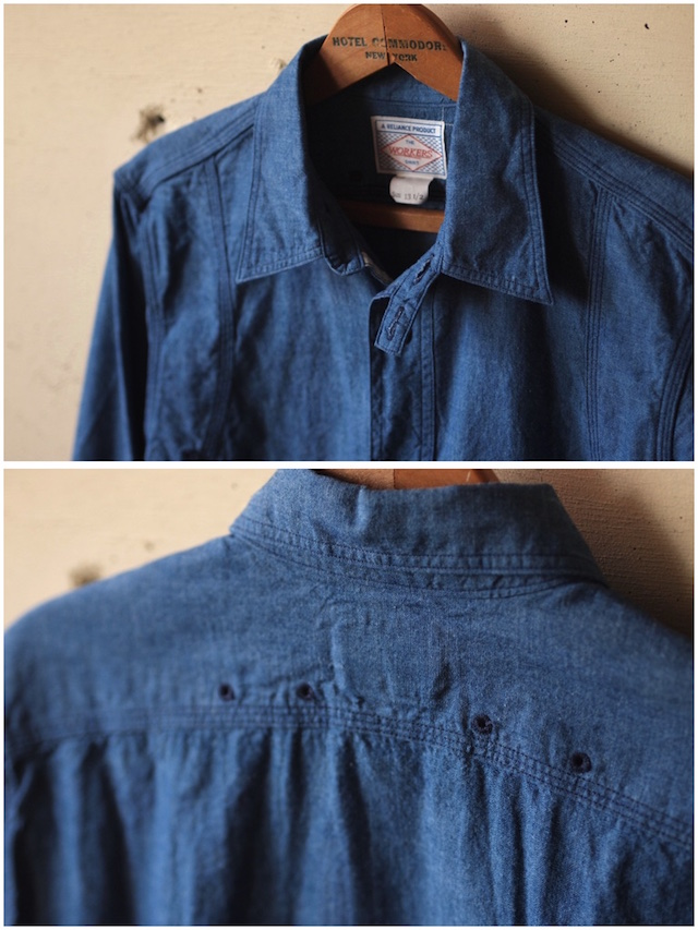 WORKERS Cigaret Pocket Work Shirt Beta Chambray-5