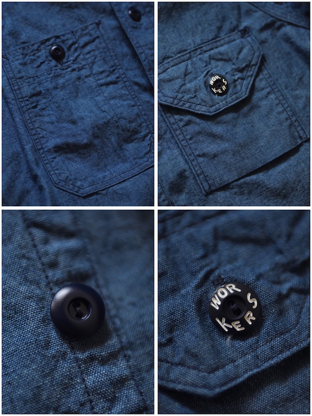 WORKERS Cigaret Pocket Work Shirt Beta Chambray-8