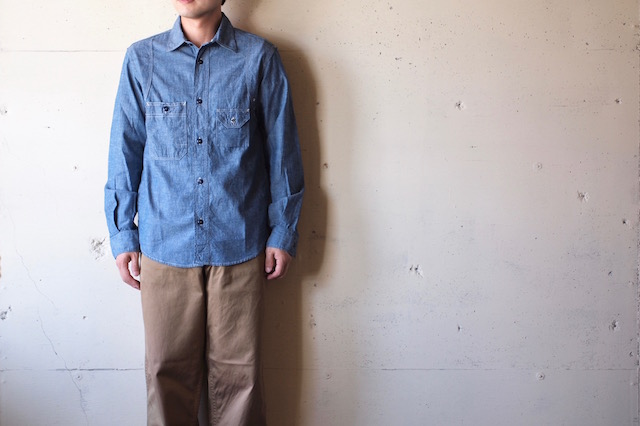 WORKERS Cigaret Pocket Work Shirt Blue Chambray-2