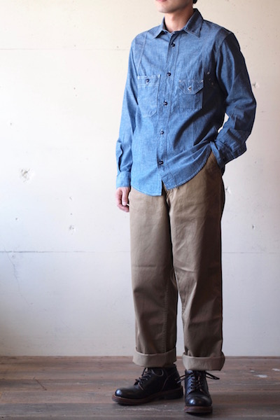 WORKERS Cigaret Pocket Work Shirt Blue Chambray-3