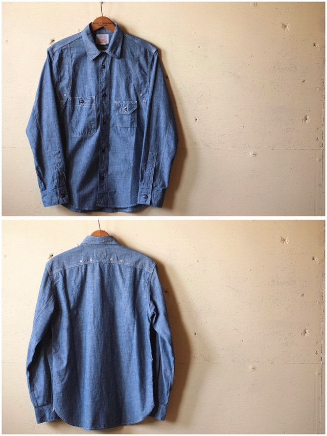 WORKERS Cigaret Pocket Work Shirt Blue Chambray-4