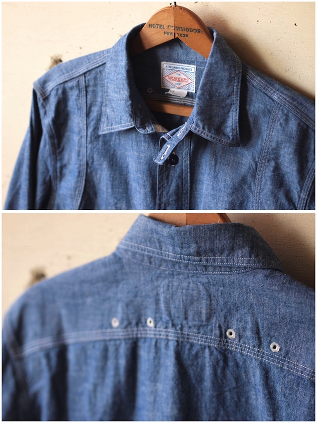 WORKERS Cigaret Pocket Work Shirt Blue Chambray-5