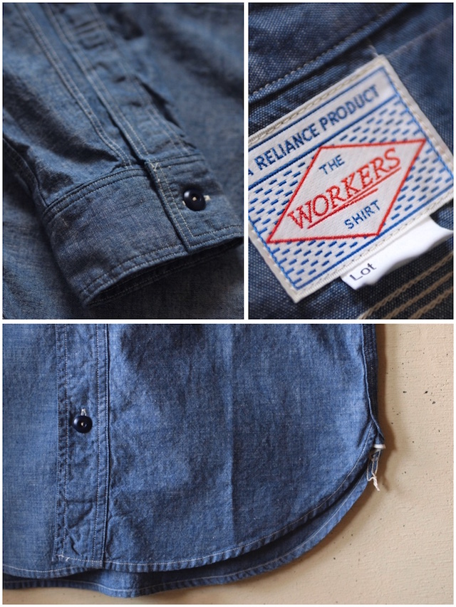 WORKERS Cigaret Pocket Work Shirt Blue Chambray-6
