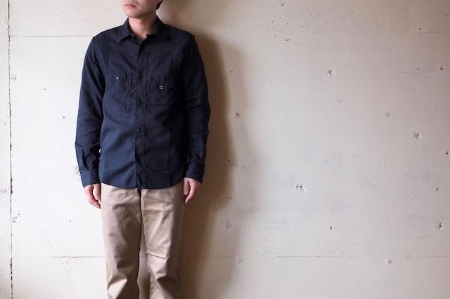 WORKERS Cigaret Pocket Work Shirt Doby Black-2