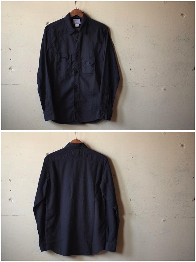 WORKERS Cigaret Pocket Work Shirt Doby Black-4