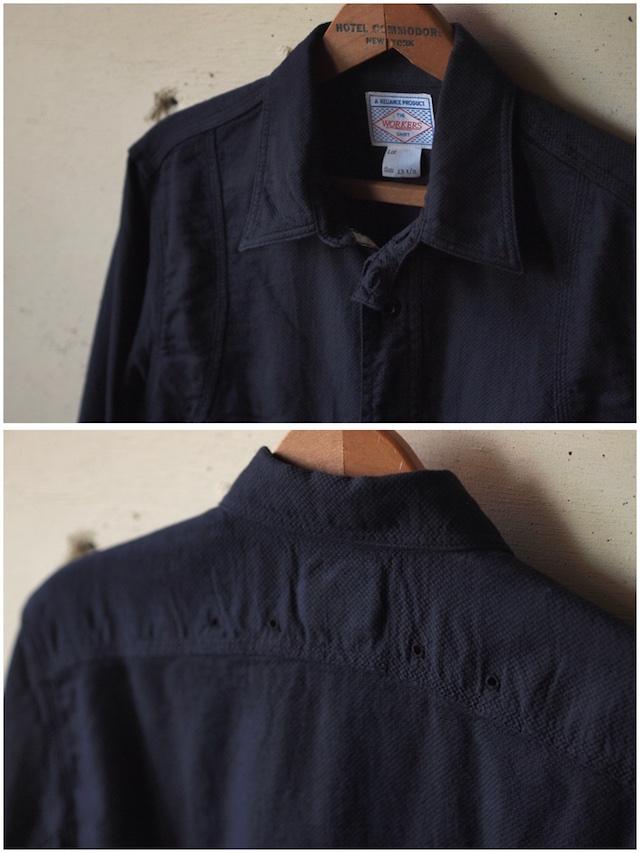 WORKERS Cigaret Pocket Work Shirt Doby Black-5