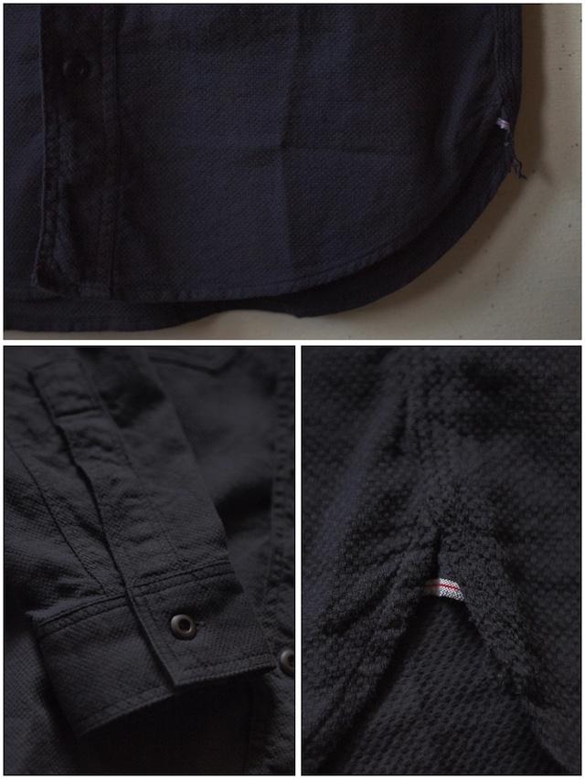 WORKERS Cigaret Pocket Work Shirt Doby Black-6