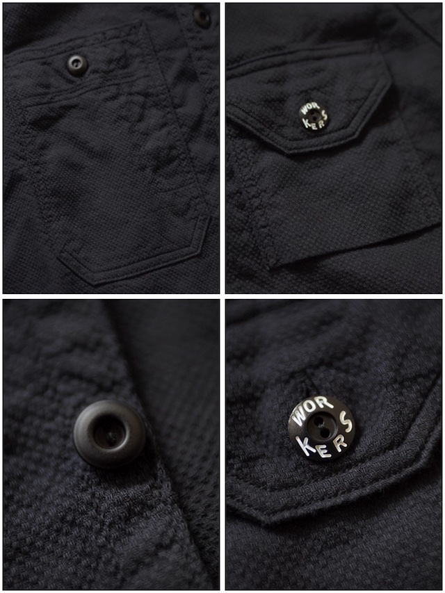 WORKERS Cigaret Pocket Work Shirt Doby Black-7