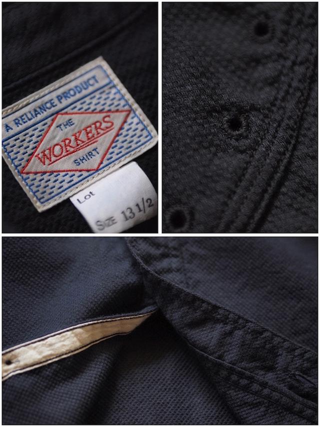 WORKERS Cigaret Pocket Work Shirt Doby Black-8