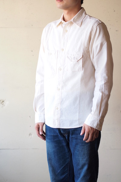 WORKERS Cigaret Pocket Work Shirt White Chambray-3