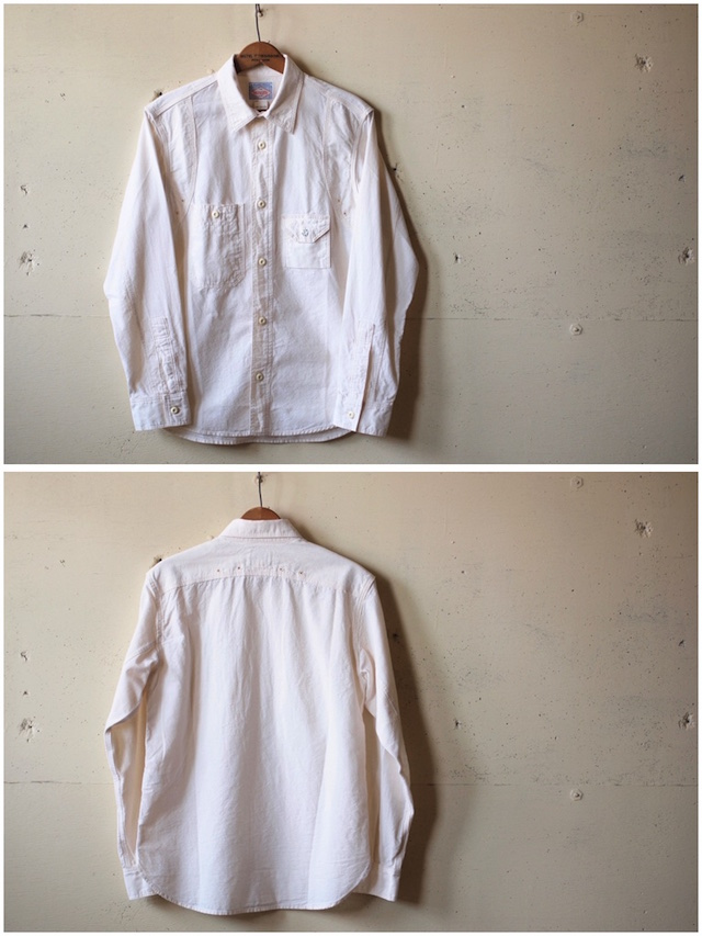 WORKERS Cigaret Pocket Work Shirt White Chambray-4