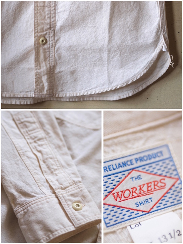 WORKERS Cigaret Pocket Work Shirt White Chambray-6