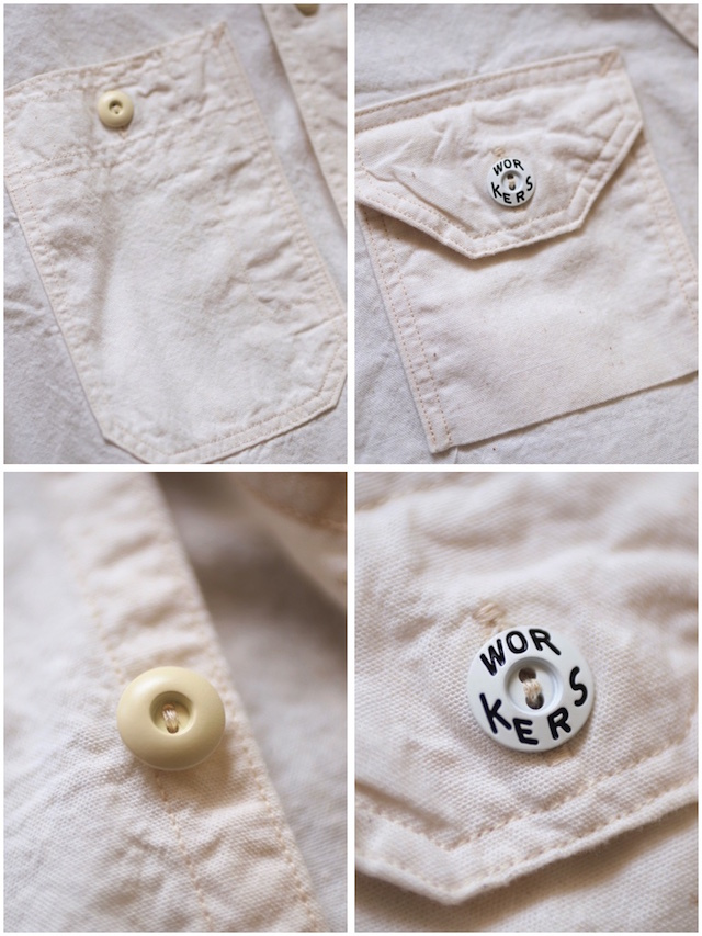 WORKERS Cigaret Pocket Work Shirt White Chambray-8