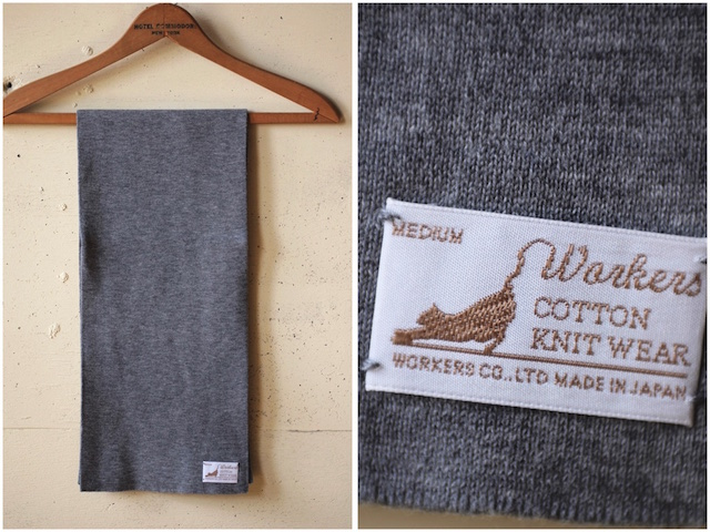 WORKERS Cotton Knit Muffler Heather Grey-3