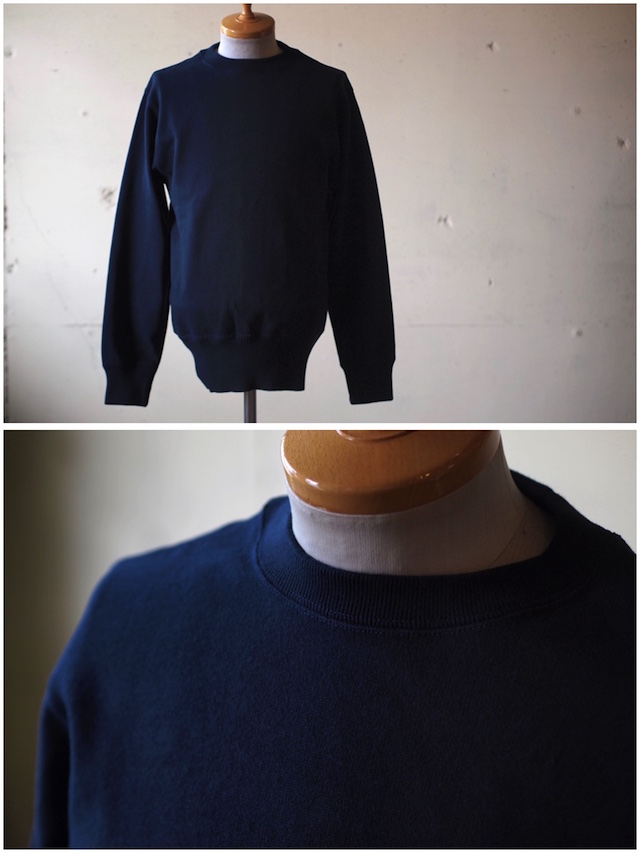 WORKERS Cotton Sweater Crew Neck Navy-2