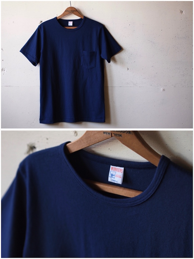 WORKERS Crew Neck Pocket Tee Navy-2