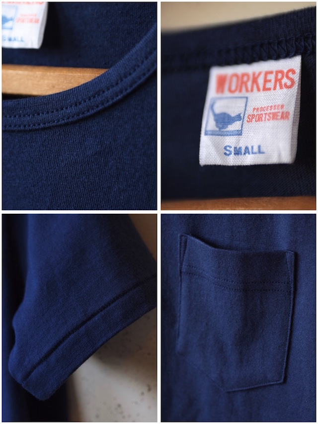WORKERS Crew Neck Pocket Tee Navy-3
