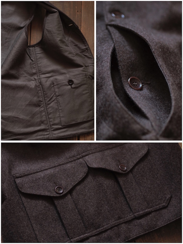 WORKERS Cruiser Vest 12oz Wool Melton Brown-7