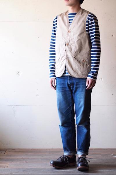 WORKERS Cruiser Vest Cotton×Linen Twill Beige-3