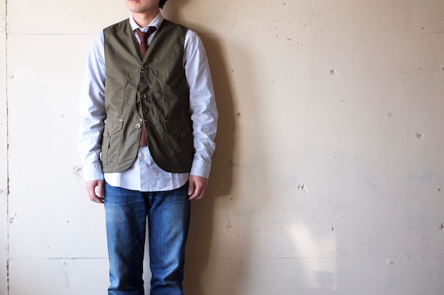 WORKERS Cruiser Vest Cotton×Linen Twill Olive-2