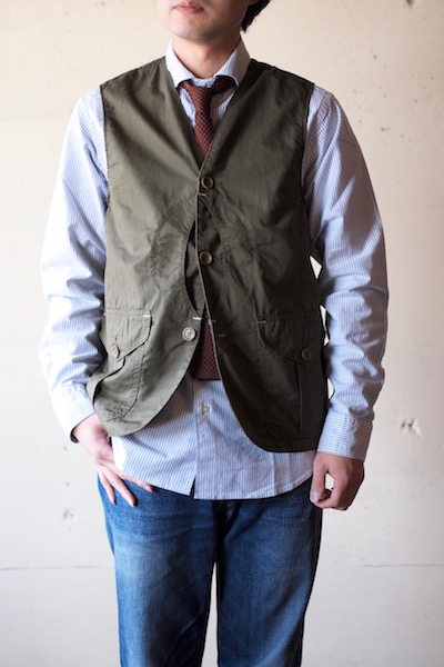 WORKERS Cruiser Vest Cotton×Linen Twill Olive-3