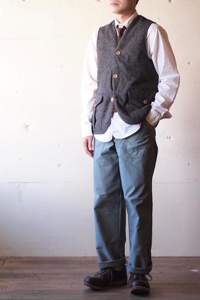 WORKERS Cruiser Vest Homespun Tweed Brown-3