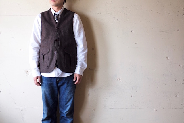 WORKERS Cruiser Vest 12oz Wool Melton Brown-2