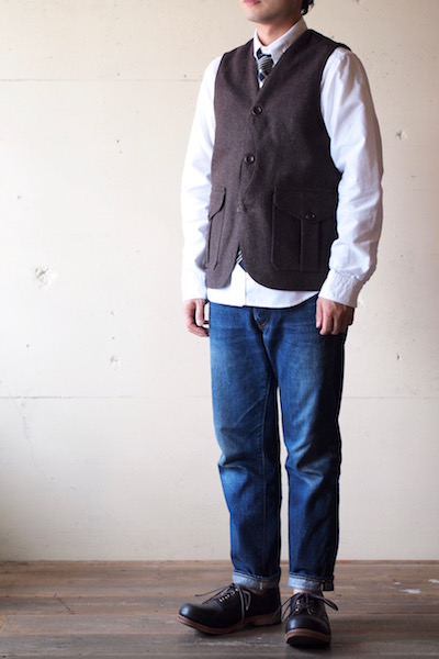 WORKERS Cruiser Vest 12oz Wool Melton Brown-3