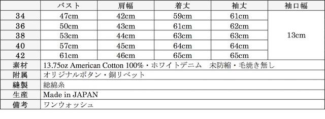 WORKERS Denim JKT Type 1st 13.75oz White Denim-Graph