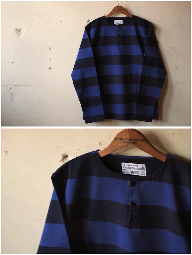 WORKERS Henry Neck Border Long Sleeve Navy×Black-2