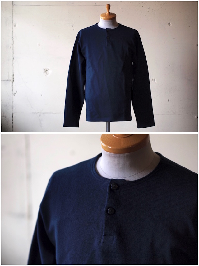 WORKERS Henry Neck Cotton Sweater Navy-2