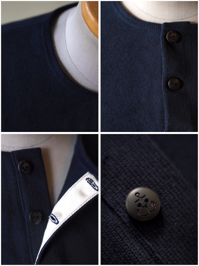 WORKERS Henry Neck Cotton Sweater Navy-3