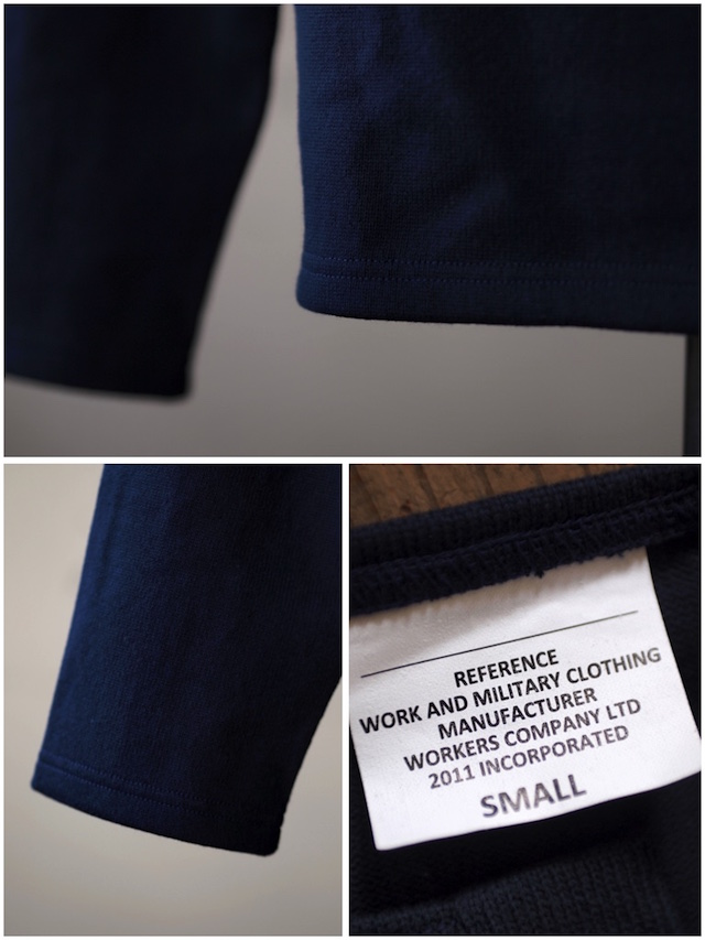 WORKERS Henry Neck Cotton Sweater Navy-4
