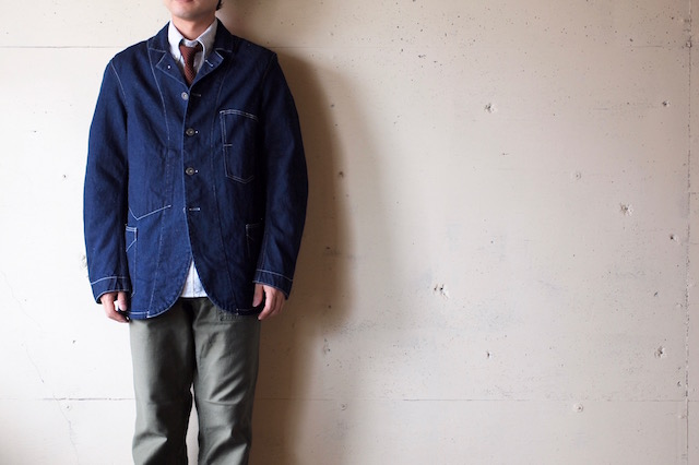 WORKERS Lot.200 Sack Coat Cotton×Linen Denim White Stitch-2