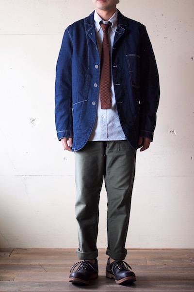 WORKERS Lot.200 Sack Coat Cotton×Linen Denim White Stitch-3