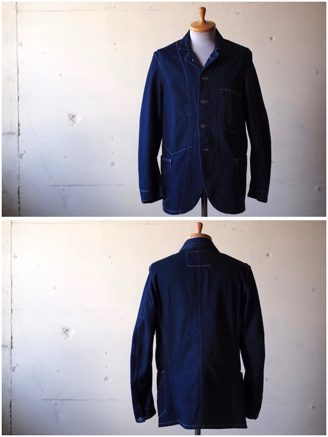 WORKERS Lot.200 Sack Coat Cotton×Linen Denim White Stitch-4