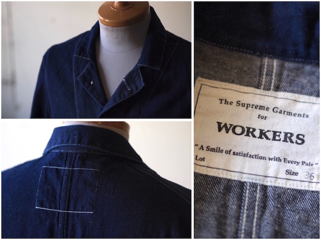WORKERS Lot.200 Sack Coat Cotton×Linen Denim White Stitch-5