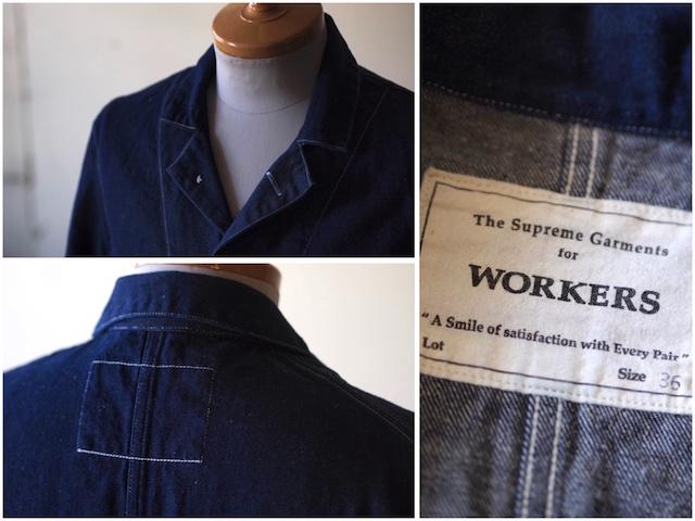 WORKERS Lot.200 Sack Coat Cotton×Linen Denim White Stitch-5