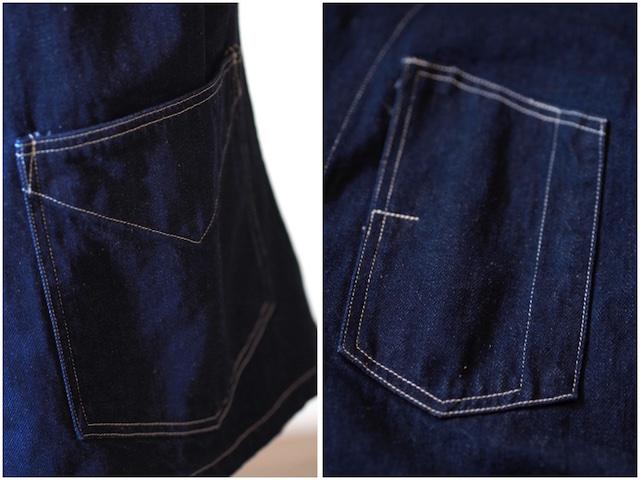 WORKERS Lot.200 Sack Coat Cotton×Linen Denim White Stitch-6