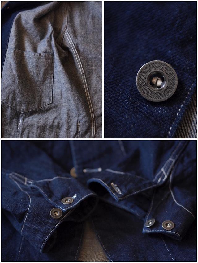 WORKERS Lot.200 Sack Coat Cotton×Linen Denim White Stitch-7