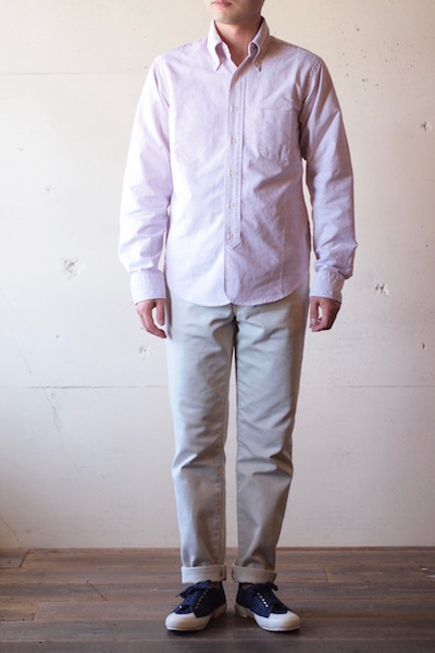 WORKERS Lot.20 Modified BD Shirt Red Stripe-3