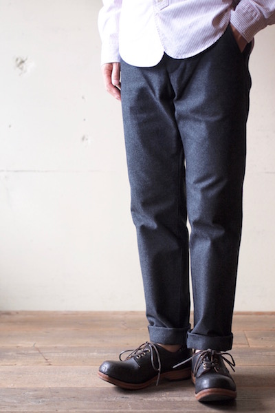 WORKERS Maple Leaf Trousers Cotton Flannel Charcoal-3