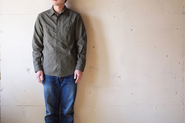 WORKERS Metal Button Work Shirt 5oz Olive Chambray-2