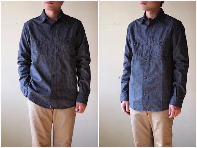 WORKERS Metal Button Work Shirt 5.5oz Black Covert-2