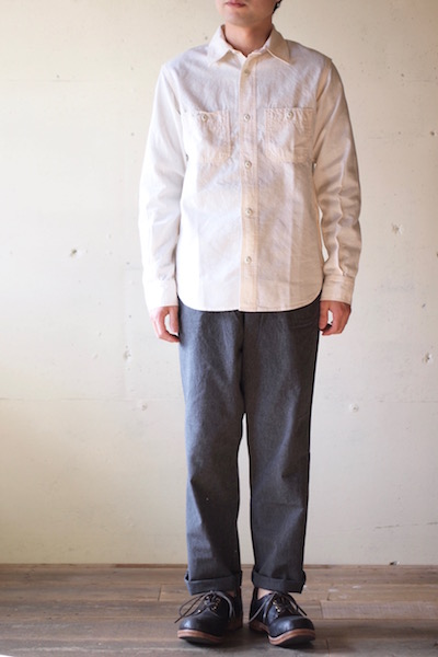 WORKERS Metal Button Work Shirt 5.5oz White Chambray-3